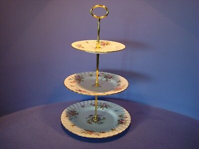 Minton Three Tier Small Diameter Cake Stand, Marlow Pattern, Floral Spray's