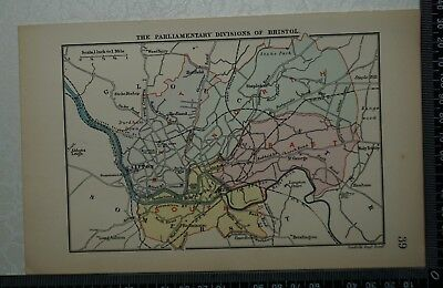 1885  Antique Stanford's Map of the Parliamentary Divisions of Bristol