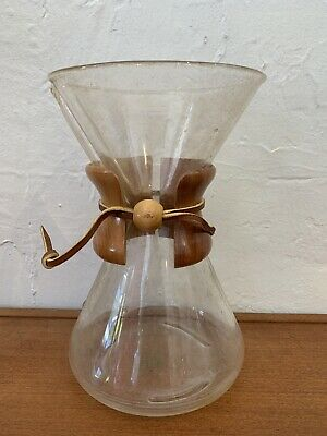 """Vintage Chemex Coffee Brewer 9 1/2"""" tall 6 cups Green Stamp Pyrex Glass USA NICE"""