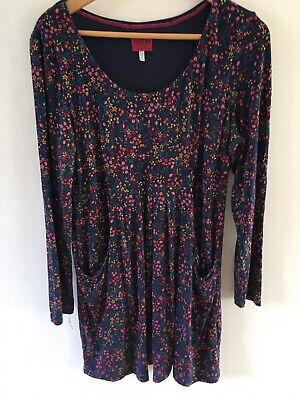 Ladies Joules Dress - Navy With Multicolour Floral Design - Size 16