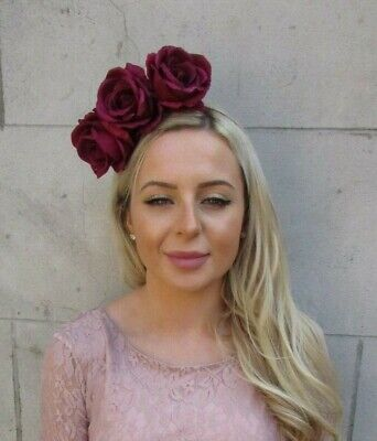 Large Burgundy Wine Red Rose Flower Fascinator Headpiece Headband Wedding 7186