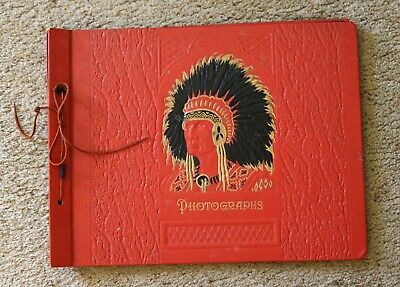 Vintage album photo photograph photographs scrapbook embossed red indian chief