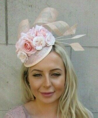 Pale Light Peach Blush Pink Rose Flower Feather Hat Hair Fascinator Races 7188