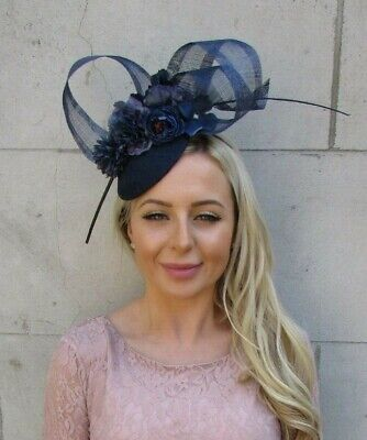 Navy Blue Rose Flower Feather Pillbox Hat Hair Fascinator Races Wedding 7189