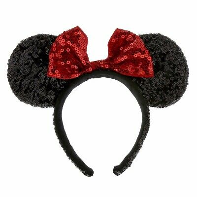 Offical Disney Minnie Mouse Ears (Black & Red) Sequined & Bow