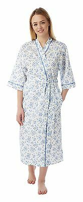 Ladies Floral Poly Cotton Wrap/Dressing Gown Pink,Lilac,Blue - Size 12-30 MN18