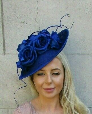 Large Royal Blue Rose Flower Feather Teardrop Fascinator Hat Headband Big 7191