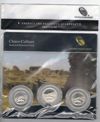 BU sealed 2012 Chaco Culture National Park  PDS mints ATB 3-coin set  quarters