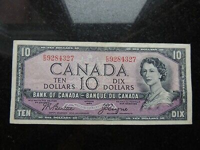 1954 Bank Of Canada $10 Dollars E/D 9284327 Beattie Coyne Devils Face Changeover