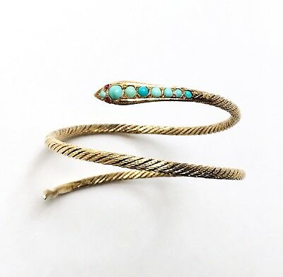 Antique Art Deco Silver Gilt Cobra Snake Arm Wrap Bracelet Turquoise Egyptian