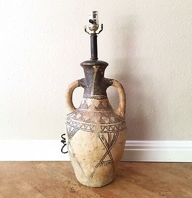 Antique Moroccan Berber Pottery Urn Vase Amphora Table Lamp, 19th-Early 20th C.