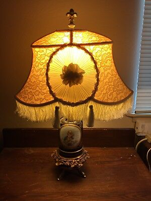 Nice VTG Antique Hand Painted Porcelain Pulled Fabric Tasseled Shade Table Lamp