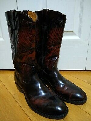 c51b7d4f9f2 VINTAGE IRON AGE Men's Cowboy Boot Steel Toe brown Leather Western Size 9 D  USA