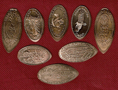 GRAND CANYON SET OF EIGHT ELONGATED PENNIES - Pressed on Pre-82 Copper - ARIZONA