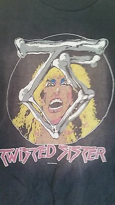 Twisted Sister /'76 Topless Girl Men/'s T Shirt Stripes Glam Rock Concert Tour Top