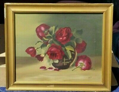 Antique Still Life OIL PAINTING RED ROSES Vase on Canvas Gorgeous Color Shabby