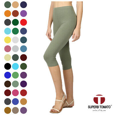 3036570fa8cb92 Womens Capri Leggings Knee Basic Cotton Spandex Stretch Pants Elastic High  Waist