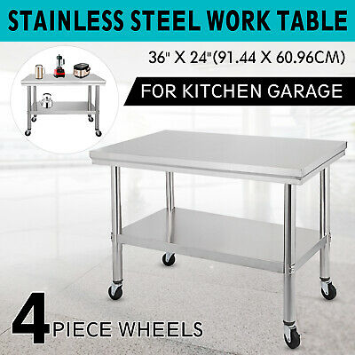 910 x 610mm NEW STAINLESS STEEL 430 WORK BENCH KITCHEN FOOD PREP CATERING TABLE