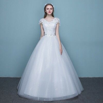 Lady Bride Bridesmaid Maxi White Wedding Dress Princess Lace Prom Ball Gown Chic