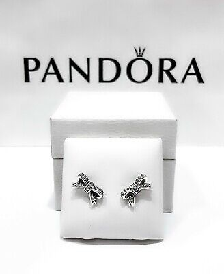 03f6ed3f0 New Authentic Pandora 925 Silver Sparkling Bow Stud CZ Earrings 290555CZ