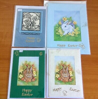 4 X Handmade Happy Easter Cards