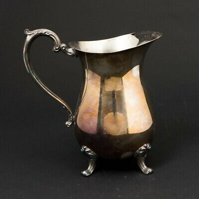 "Antique Silverplate Footed Water Pitcher Jug Ewer Unmarked 8"" Tall Silver Plated"
