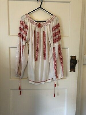 Hungarian Hand Embroiderd Peasant Blouse Fine Cotton Cheesecloth Medium