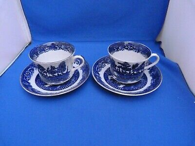 """2 Collectable Retro Vintage Bone China """"Old Willow"""" Cup & Saucer Set Free P&P"""