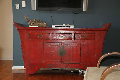 Gorgeous Chinese Antique, solid wood red varnished sideboard, perfect condition.