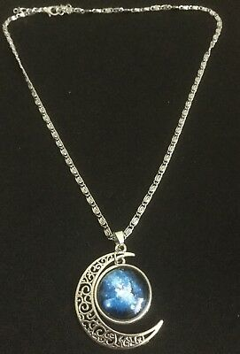 New Galactic Glass Cabochon Crescent Moon Pendant Necklace