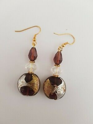 Maroon Glass Beaded Earrings
