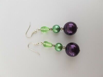 Purple And Green Beaded Earrings