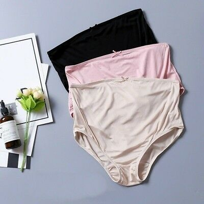 Women Silk Underwear Briefs Pregnant Panties Knickers High Waist Bottoms