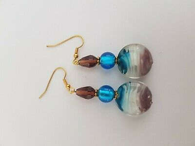 Blue And Maroon Beaded Earrings