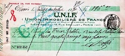 [CF4088] Cheque 1930 Union Immobilière de France usado