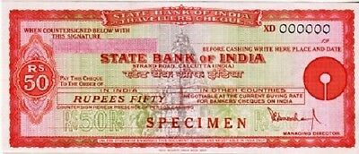 [CF4087] Travellers Cheque 50 rupias Bank of India - SPECIMEN