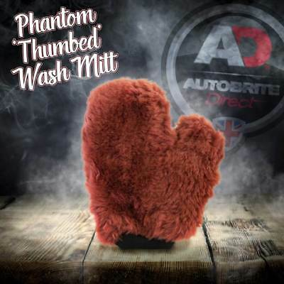 "Autobrite Direct The Phantom Thumbed Wash Mitt Luxuorious 1"" Wool Pile Pad"