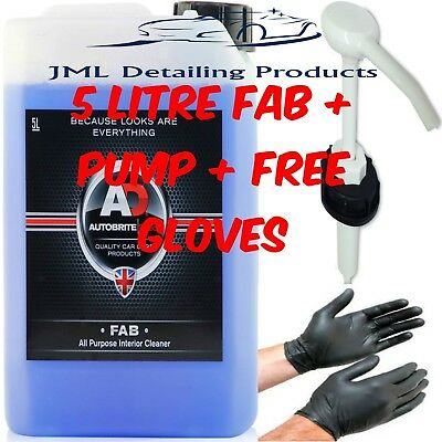 Autobrite Direct 5 Litre Fab Interior All Purpose Upholstery Cleaner + Pump