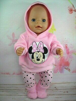 "Dolls clothes for 17"" Baby Born doll~PINK MINNIE MOUSE HOODIE/LEGGINGS/BOOTS"