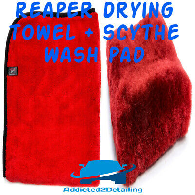 "Autobrite Direct Hellshine Red The Scythe Wash Mitt/Pad Luxuorious 1"" Wool Pile"