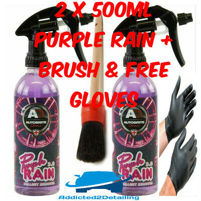 Autobrite Direct 2 X 500Ml Purple Rain Fallout Remover Alloy Wheel Cleaner+Brush