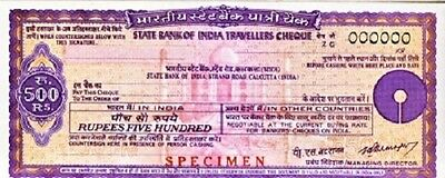[CF4087b] Travellers Cheque 500 rupias Bank of India - SPECIMEN