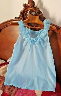 "Vintage Dolores Camisole Top in Baby Blue Nylon Frill Neck 32/34"" Small (T145)"