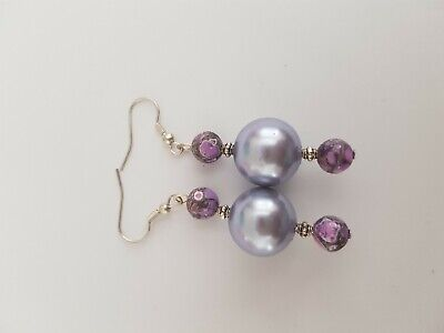 Mauve Beaded Earrings