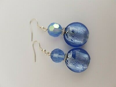 Light Blue Beaded Earrings
