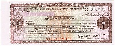 [CF4087c] Travellers Cheque 1000 rupias Bank of India - SPECIMEN