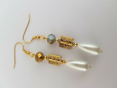 Gold And White Beaded Earrings