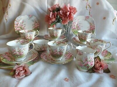 "Beautiful Vintage Bone China Royal Albert ""blossom Time"" Pink 19  Piece Tea Set"
