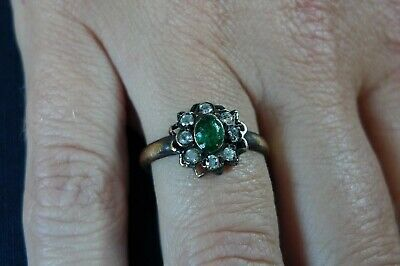 c1550 AD British UK Found STUNNING Tudor Ladies Decorative Ring + 9 STONES GREEN