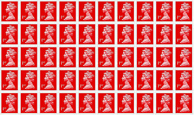 1st Class Royal Mail 50 Stamps, Easy Peel and Stick , self-Adhesive UNUSED